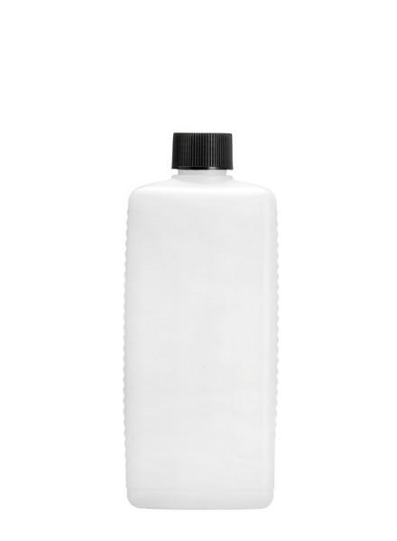 Leere 500 ml HDPE Vierkantflasche inkl. schwarzem Verschluss - 1 Stück