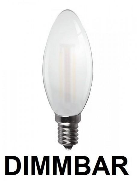 6 Watt Faden Filament LED Lampe, Kerze, E14, Lichtfarbe warmweiß 2700 K, Milchglas, dimmbar