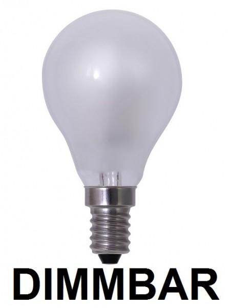 6 Watt Faden Filament LED Lampe, Birne, E14, Lichtfarbe warmweiß 2700 K, Milchglas, dimmbar